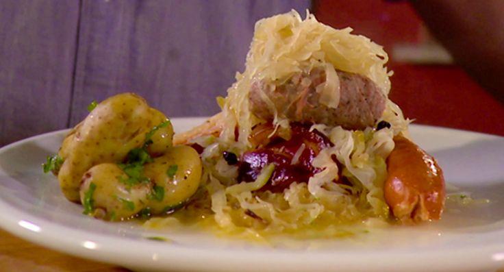 Chouchroute Pork: http://gustotv.com/recipes/lunch/chouchroute-pork-sauerkraut/