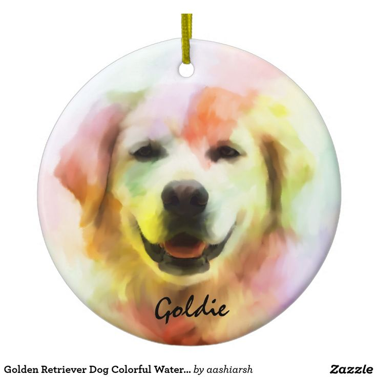 Golden #Retriever #Dog Colorful Watercolor Art Ceramic #Ornament #Christmas #Christmas2016 #christmasdecoration #xmas #goldenretrievers #art #animal #doggie #pet #custom
