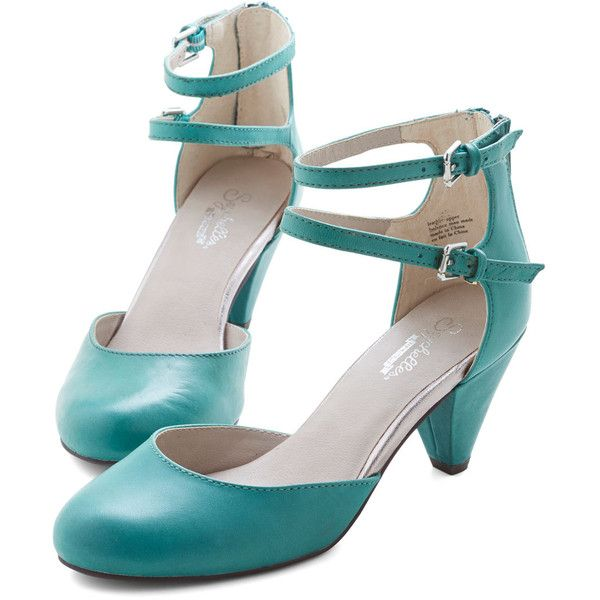 Seychelles Vintage Inspired Marvel Heel (£33) ❤ liked on Polyvore featuring shoes, pumps, heels, green, mary jane heel, special occasion shoes, maryjane pumps, green leather pumps, leather mary jane pumps and seychelles shoes