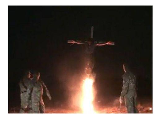 Azov battalion crucifies and burns man alive in Ukraine