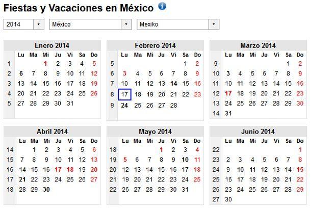 Calendario 2014 con días festivos de México   Calendario 2017 ...