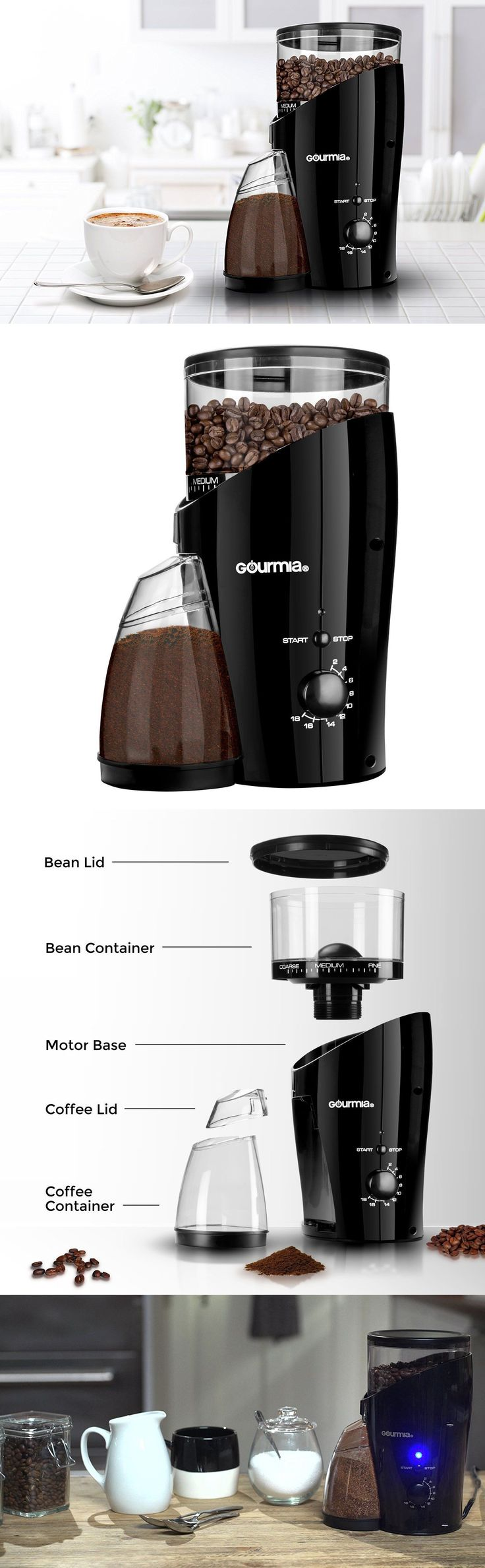 Coffee Grinders 32882: Burr Coffee Grinder Electric Automatic Fine Bean Espresso Black Mill With Bin -> BUY IT NOW ONLY: $51.3 on eBay!