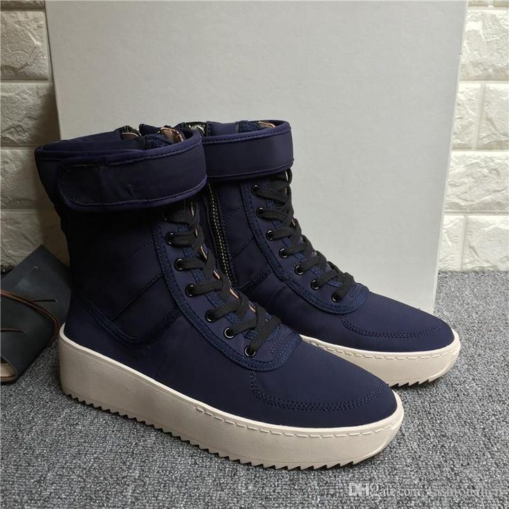 New AAA Quality Fear of God Kanye West High Tops Fashion Mens Justin Bieber White Sole Shoes