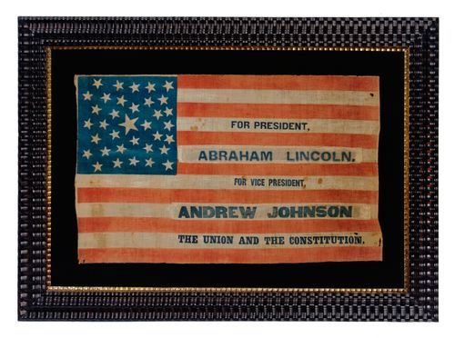 "1864 Lincoln and Johnson presidential campaign parade flag recycled from an 1860 John Bell, Constitutional Union Party Flag with 35 stars arranged in a unique variant of a ""pentagon"" or ""heart"" medallion  flag: 16.25"" x 27"""
