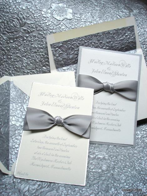 Wedding Invitation Elegant High End Embossed Silver Unique