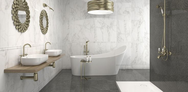 Crystal White (wall) + Dark 24x24 (floor) porcelain #argenta