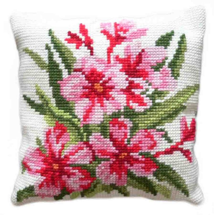 Red Floral Chunky Cross Stitch Cushion Kit (Art. No.: 4008) DIY Cushion Kit with…