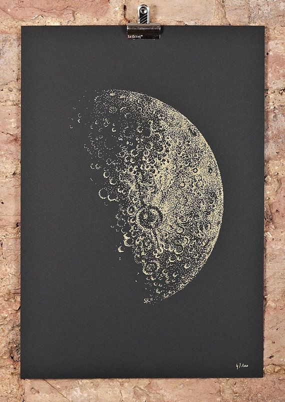 Half Moon screeprint - A3 - gold ink on black paper $85 by Sabrina Kaici on @Etsy #print