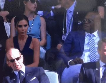 Victoria Beckham knows being British makes her too white for Samuel L. Jackson at Wimbledon. Want sto say something, but... he's thee scariest Black man alive, lol