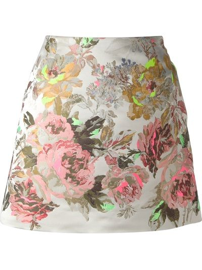 skirt . poly lined with silk .  Grey mini skirt from Valentino featuring a rear zip fastening, two inset pockets to the sides, a straight hem, an a-line shape and a multi coloured floral jacquard.