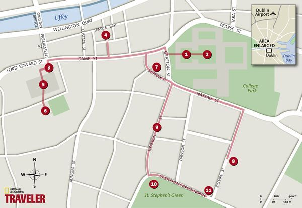 One Day in Dublin: (1) Trinity College (2) Old Library (3) City Hall (4) Temple Bar (5) Dublin Castle (6) Chester Beatty Library  (7) Avoca Café (8) National Museum of Ireland-Archaeology and History (9) Grafton Street (10) St. Stephen's Green  (11) Shelbourne Hotel