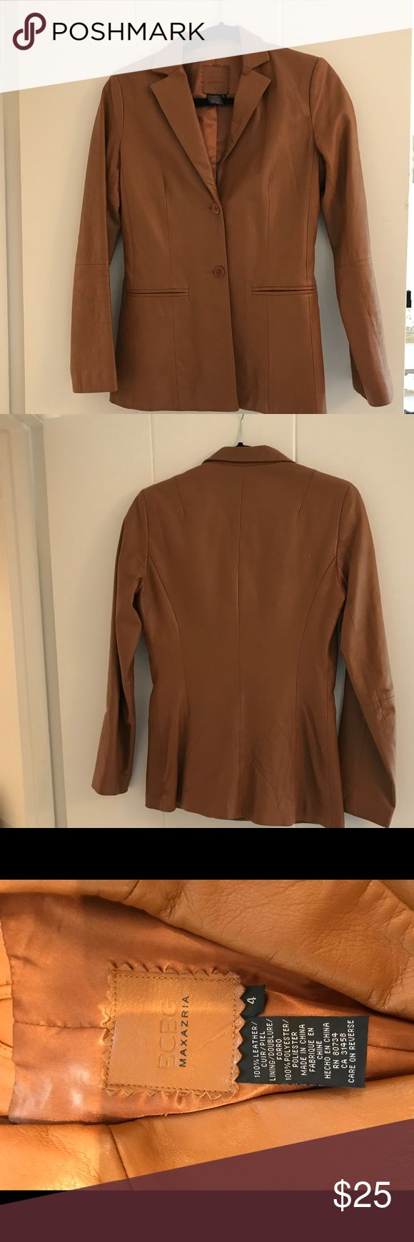 Leather jacket Gorgeous camel leather jacket.  Finley taylor Ed by BCBG Max Azria BCBGMaxAzria Jackets & Coats Blazers