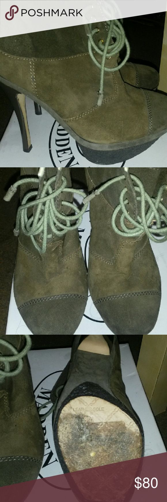 Gwen Stefani suede booties They have been altered. Fur removed from rim LAMB Shoes Ankle Boots & Booties