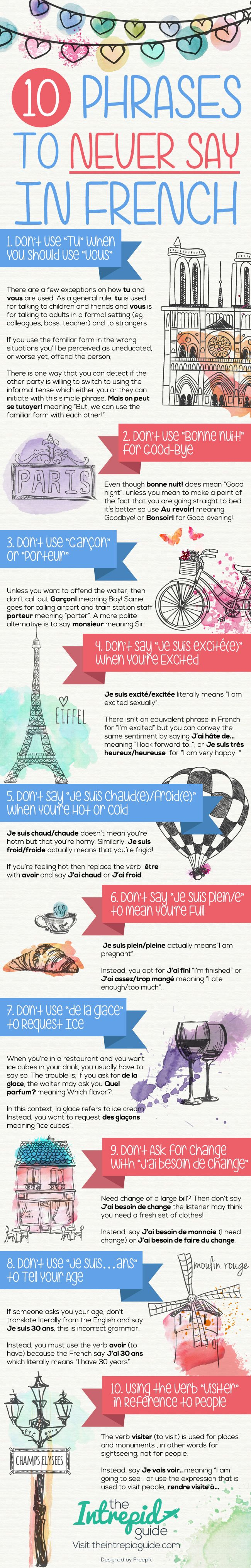 10 Phrases to Never Say in French