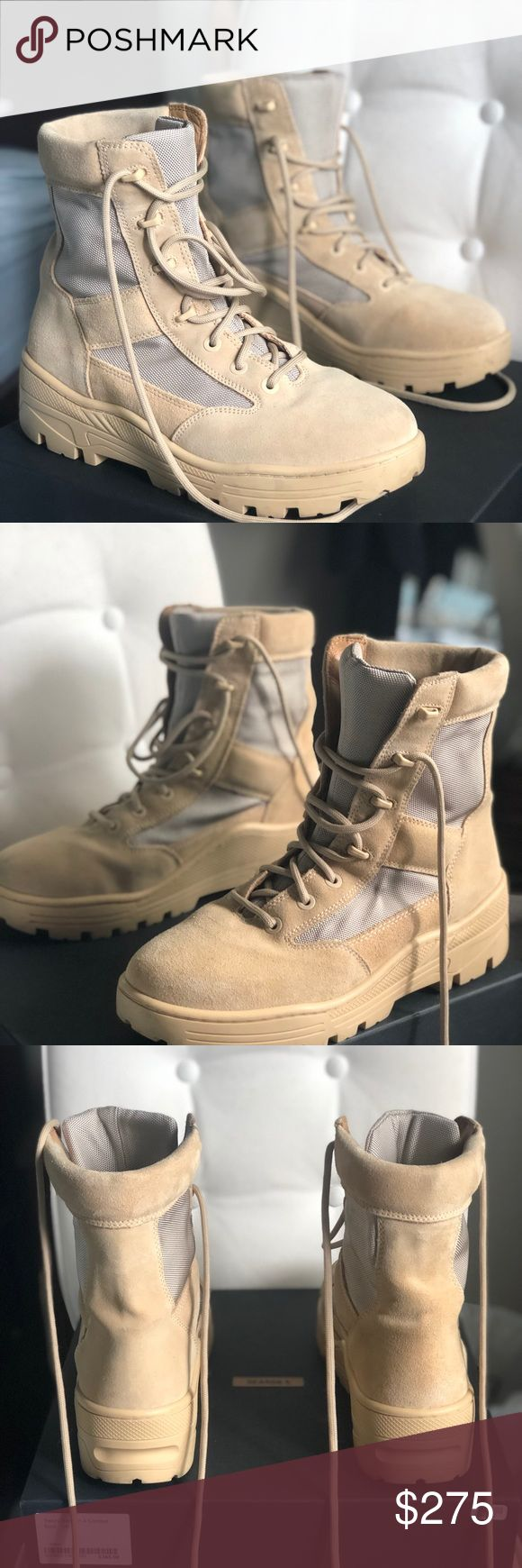 Yeezy Season 4 Combat Boots Selling size 10.5 yeezy season 4 combat boots in sand.  Worn only a handful of times.   9/10 great condition...no marks on the suede, sole is for the most part entirely clear with some general wear on the bottom.  Comes with original box. Price is to sell that's why Yeezy Shoes Boots