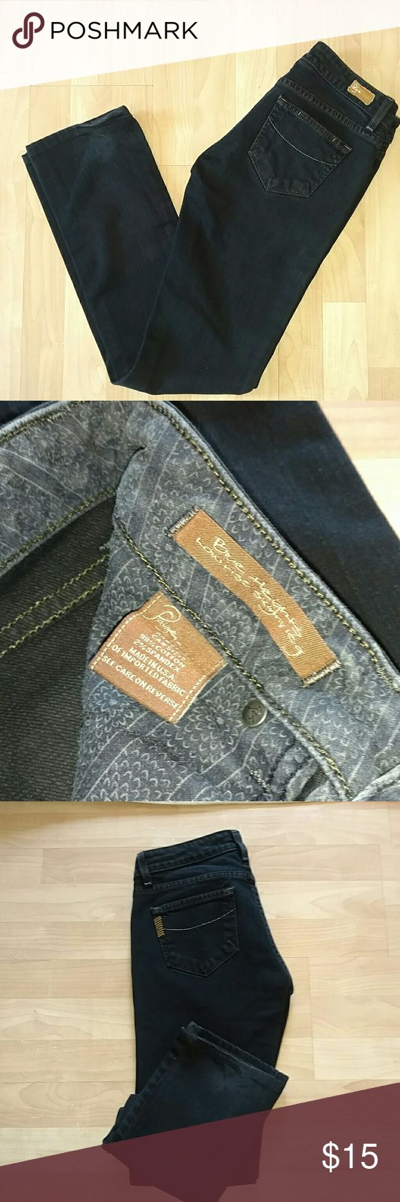 Paige premium denim 'Blue Heights' low rise skinny Like new. Great color. More like a very dark grey to black than a dark blue. Made in the USA. Only worn a few times. Described as 'skinny leg' but more straight. Paige Jeans Jeans Skinny