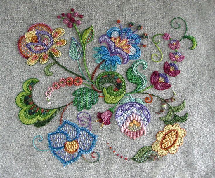 """""""Cambridge"""" and """"Oxford"""" Jacobean Design on Natural Linen"""