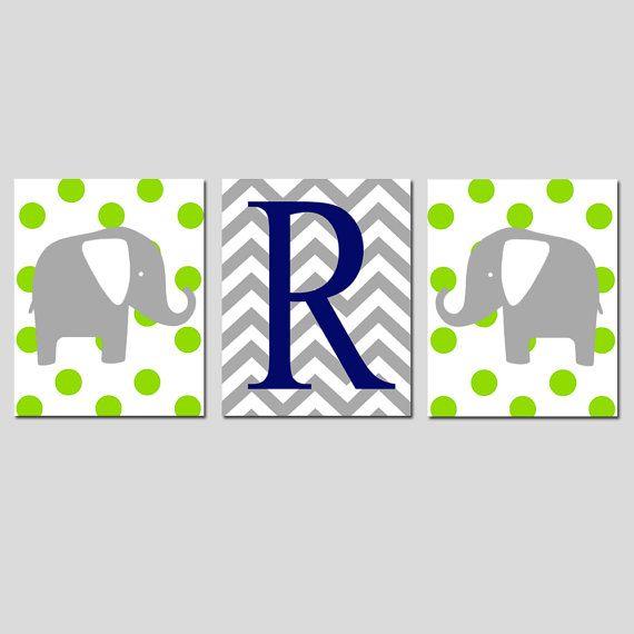 Moderno vivaio Trio - Set di tre 8 x 10 stampe - Polka Dot elefanti e Chevron Monogram - Scegli colori e iniziale