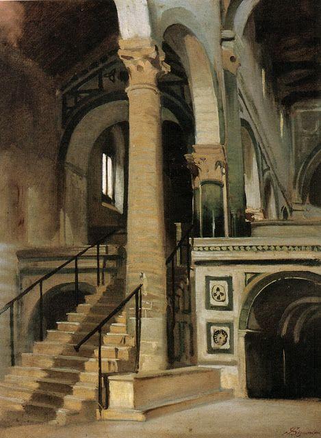 Telemaco Signorini (1835-1901)-'interior of San Miniato'-oil on canvas-ca 1861