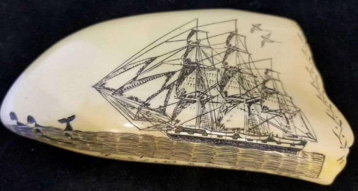 Carved Scrimshaw Whale Tooth