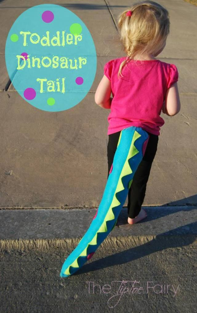 Create an easy dinosaur tail for your kids! Perfect for birthday parties, pretend play, and just plain fun!