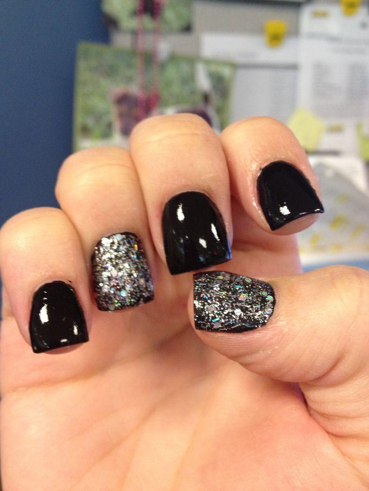 Black sparkle nails