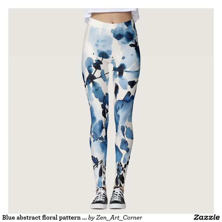Blue abstract floral pattern leggings