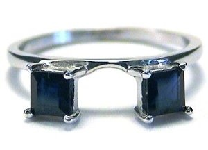 Princess Sapphire Ring Wrap Guard Enhancer 10k white gold Wedding Ring Finger REVIEW