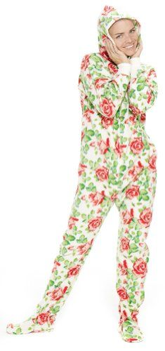 Footed Pajamas offer the best Footed Pajamas Bed of Roses Adult Hoodie One Piece - Small. #pajamas #footed