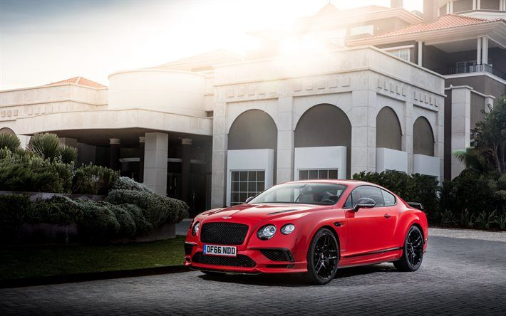 Bentley Continental, Supersports, 2017, Red Continental, black wheels, tuning Bentley, coupe