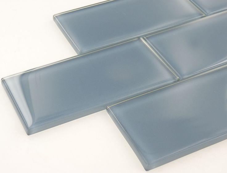 "Downpour Blue 3"" x 6"" Glossy Glass Subway Tile"