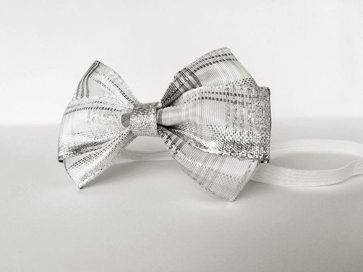 Opaska dla Małej Królewny srebrna szara święta - MadebyKaza - Opaski dla niemowląt