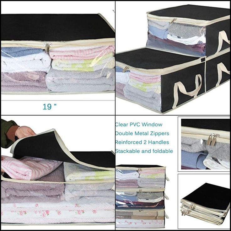 Storage Bag Organizers Clothes Storage Stackable Containers 3 Piece Set Black #SleepingLamb