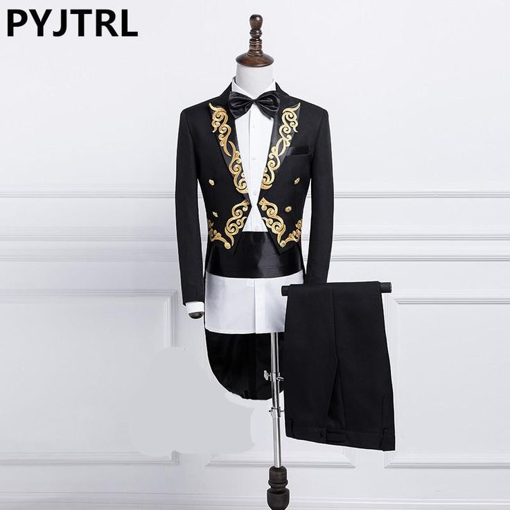 New MEN Gold Silver Embroidery Lapel Tail Coat Stage Groom Black White Wedding Tuxedos