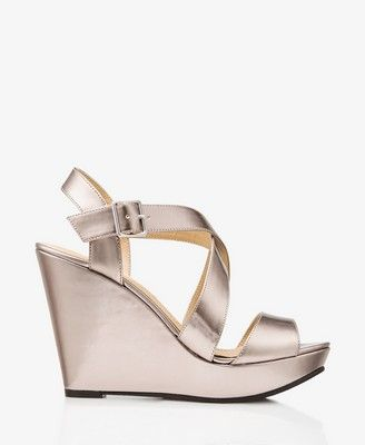 Metallic Crisscross Wedge Sandals. Ok, metallic wedges all the way for the big day.
