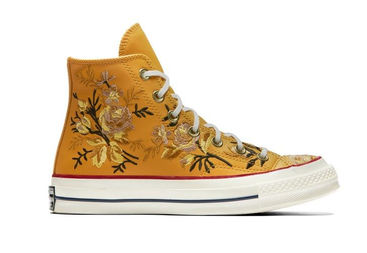 Converse Chuck 70 Floral Leather High Top turmeric goldteakegret Baskets Femme Converse