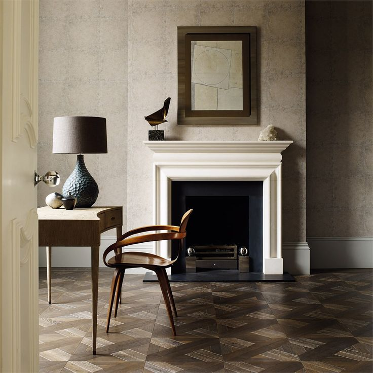 The contemporary and organic Novella lamp shown here in a masculine study, against Ashlar Tile Wallpaper 312541.