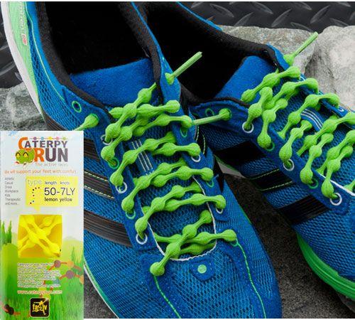 ツインズ キャタピラン 結ばない靴ひも。ひもを紐穴に通すだけで紐を絞められます。普段の歩行だけでなくランニングなどのスポーツまで緩まずに対応します。