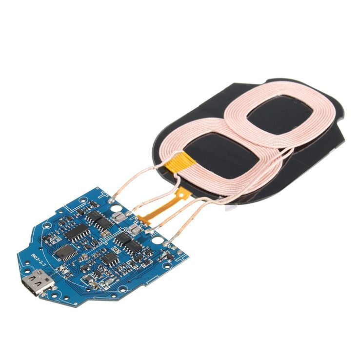 9V 1-2A Type C Port Qi Wireless Charger PCBA Circuit Board 2 Coil Charging DIY
