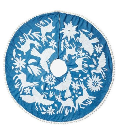 Otomi Christmas Tree Skirt, blue and white