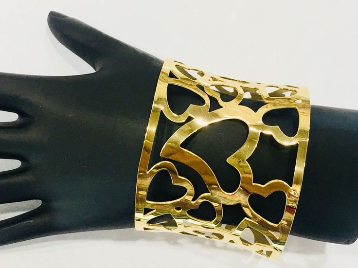 14K GOLD filled Heart Design Bangle 1pc One Size Fits Most #Unbranded #BANGLEBRACELET