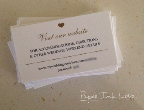 Wedding Website Cards | Wedding Hashtag Cards With Tiny Gold Heart By Paper  Ink Love