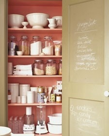 make your own chalkboard paint in any color...love the idea to paint the inside of a cabinet with it, so useful!Pretty Pantries, Chalkboards Painting, Shops Lists, Chalkboard Paint, Chalk Boards, Painting Recipe, Martha Stewart, Grocery Lists, Pantries Doors