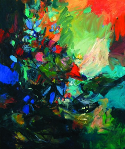 Rememberance 2013 Oil on canvas 150 x 180cm Floral, colorist, movement, orange, green, blue, red, garden, expulsion from the garden, artist, Cape Town, Cathy Layzell, painting, fine art, beautiful, decorative, interior, design, South African Artist, female artist