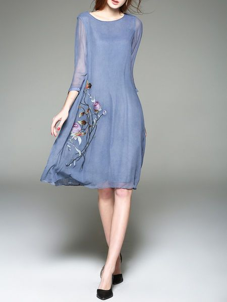 Embroidered Silk Midi Dress