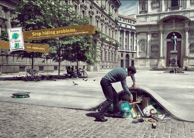 Stop hiding problems by Forchets. #greatad #pollution #savetheplanet #cop21
