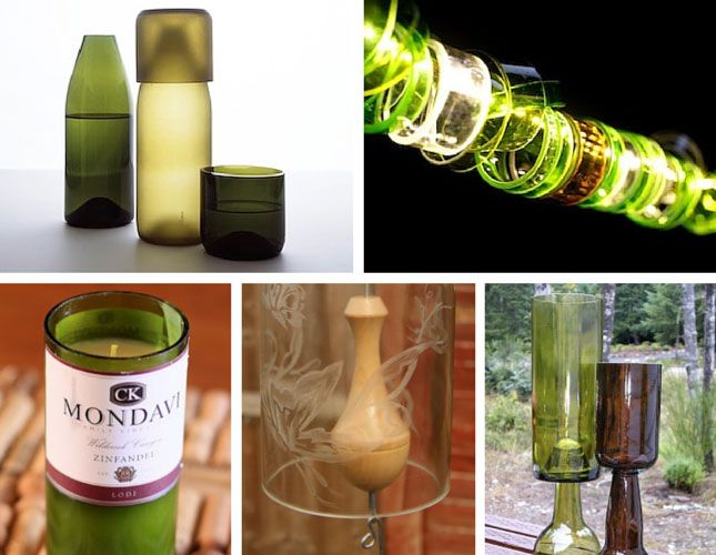 Bottle Cutting - lots of ideas for recycled glass wine and beer bottles from water carafes, light strands, lamps, candles, wind chimes and goblets..the list is endless.