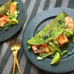 Photo of Spinach pancakes with salmon and avocado cream