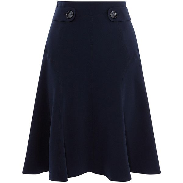 Karen Millen Soft Military Skirt (13.020 RUB) ❤ liked on Polyvore featuring skirts, knee length skirts, straight skirt, flared skirt, knee length skater skirt and skater skirts