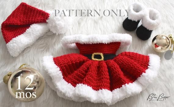 12 Month Old Christmas Baby Dress Santa Hat Santa Boots Etsy Crochet Set Pattern Christmas Dress Baby Crochet Set